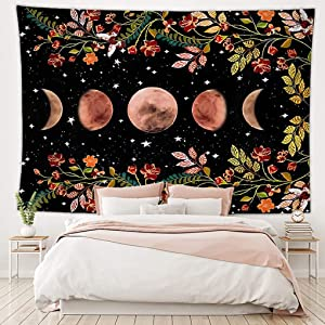 Moonlit Garden Tapestry Moon Phase Tapestry Wall Hanging Flowers Vines Tapestries Starry Dormitory Hanging Cloth Moon Eclipse Black Tapestry aesthetic for Bedroom Living Room Wall Decor 59x51 inch