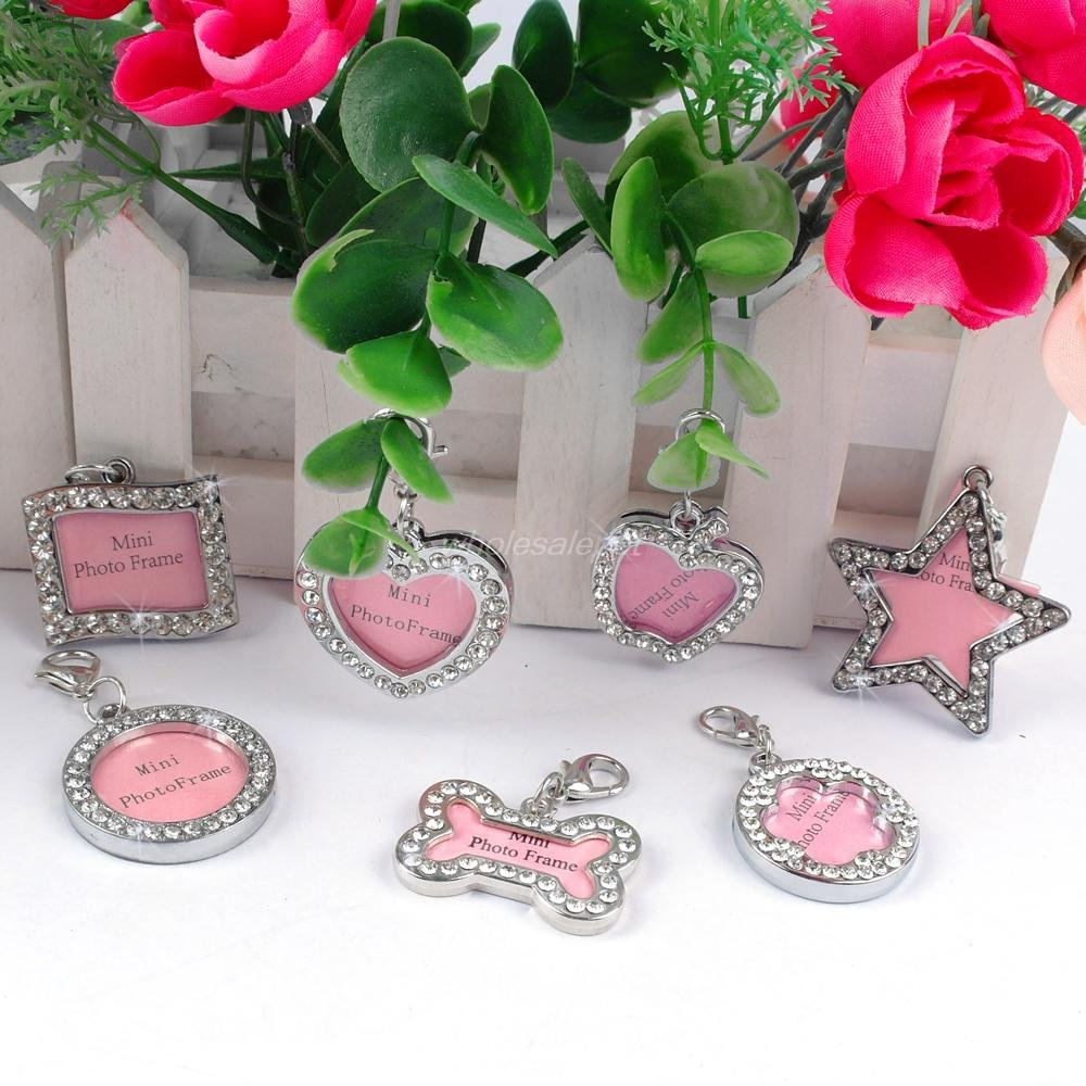 BOSUN(TM)7 Shapes Bling Rhinestone Mini Pet Dog Photo Frame Dog Name ID Tag