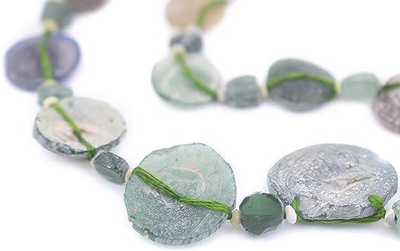 transparent blue green freeform rectangular avg length 15mm One strand antique Roman glass beads