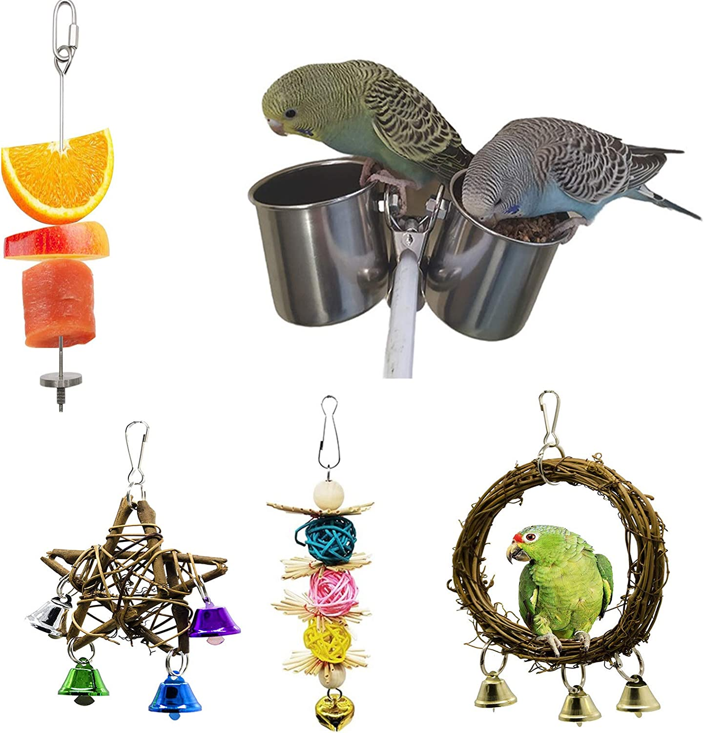5 Packs Parrot Feeder Bowl, Bird Feeder for Cage, Fruit Vegetable Stick Holder, Stainless Steel Bird Feeder Cup,Water Food Dish for Parakeet, Cockatiel, Macaw, Conure, Budgie, Big Small Love Bird