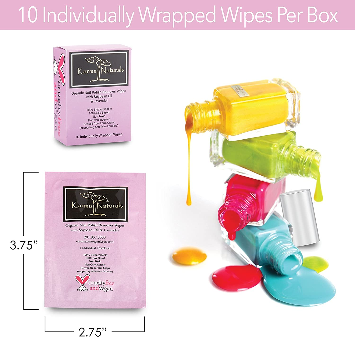 Amazon.com : Karma Nail Polish Remover Wipes; Non-Toxic, Vegan ...
