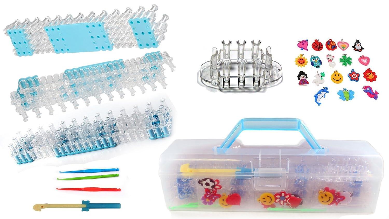 Playoly Loom Bands DIY Bracelet Kit - 4 Boards, 4 Knitting Crochet Hooks, 18 Charms & Storage Box