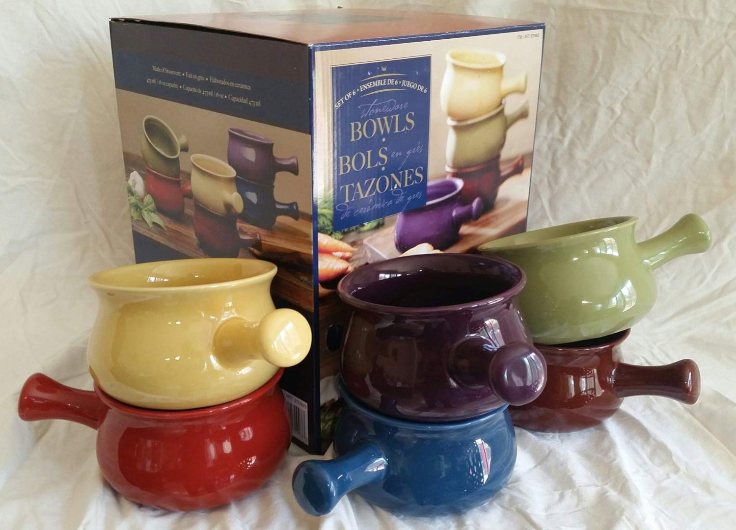 Stonewear Bowls 6 Piece Ceramic Soup Bowl Set Multicolor