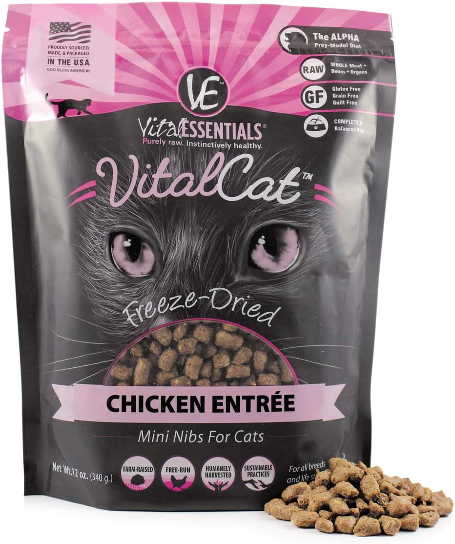 Vital Essentials Vital Cat Freeze-Dried Grain-Free Chicken Mini Nibs Cat Food, 12 oz.