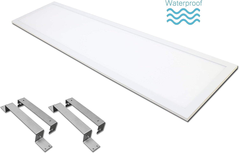 Mit Aufputzrahmen LED Panel wasserdicht IP65 40 Watt 120x30cm Lichtfarbe 4000K weisser Rahmen ohne Spalt