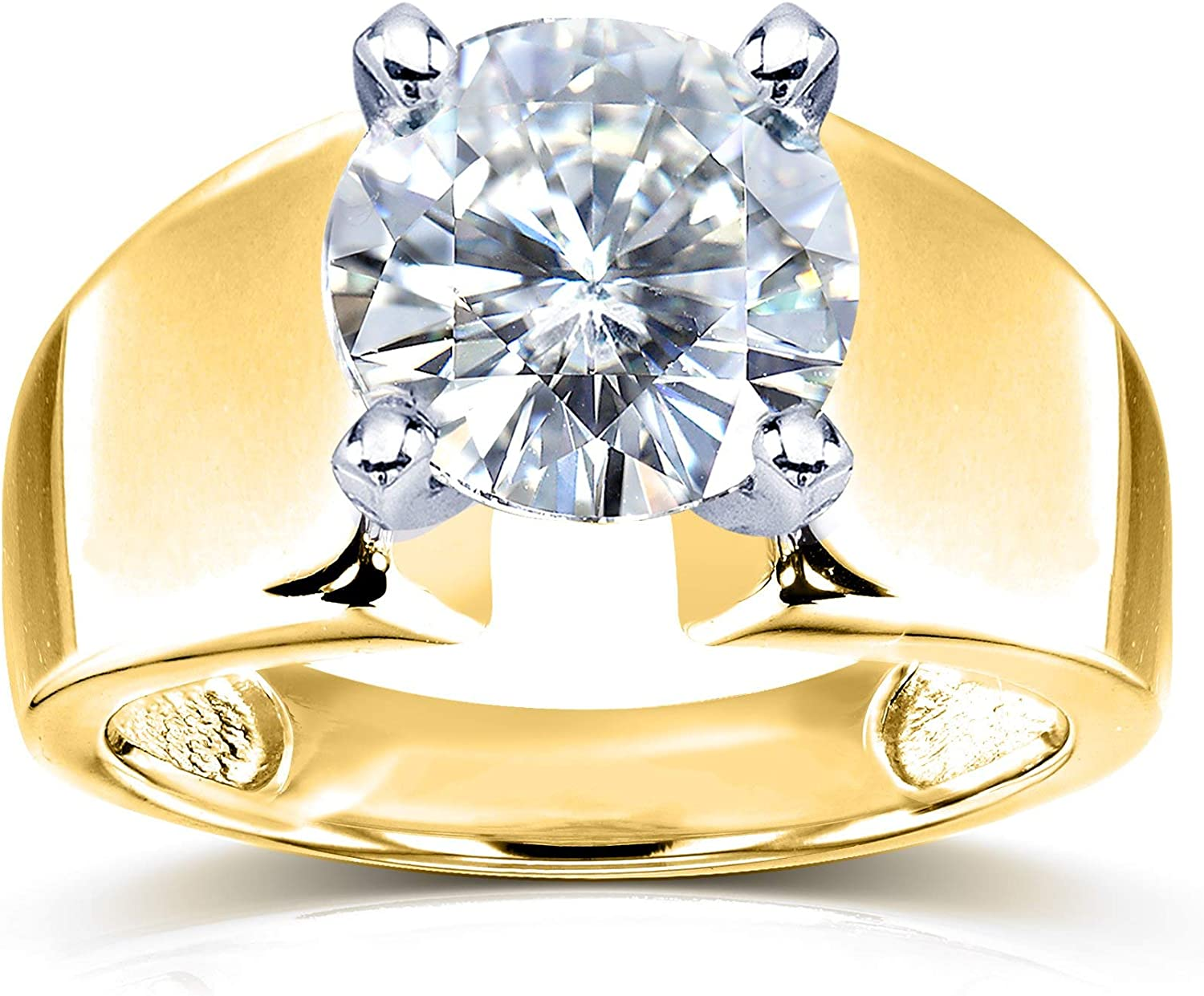FG//VS Kobelli Wide Shank Round Brilliant Moissanite Solitaire Engagement Ring 3 Carat 14k Yellow Gold