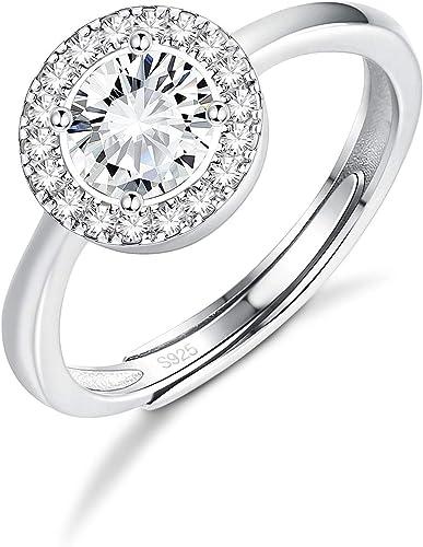 Anillo swarowski circonita plata ajustable en tamaño compromiso boda