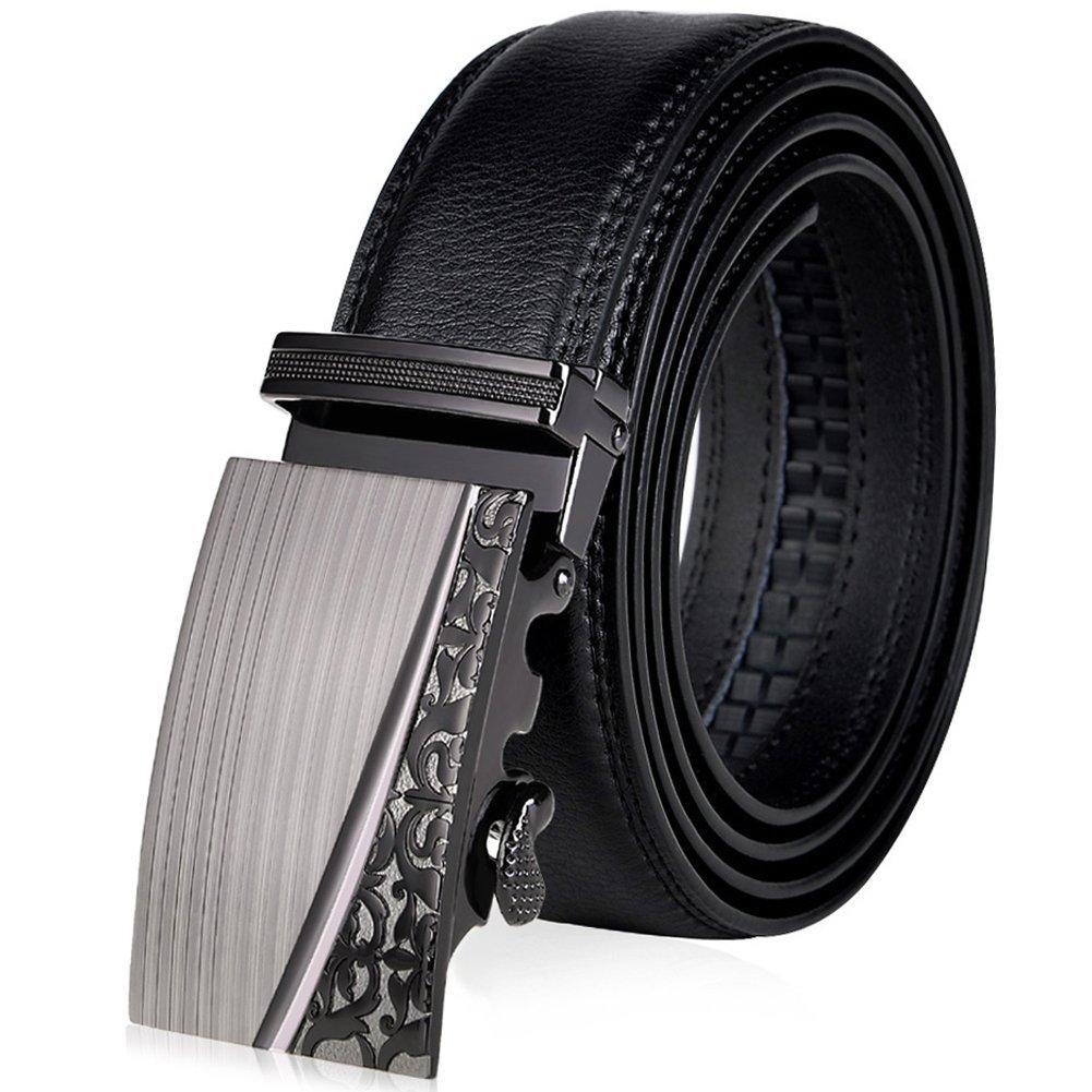 Vbiger Men's Leather Belt Sliding Buckle 35mm Ratchet Belt Black (42'' to 52'' long, Black 595)