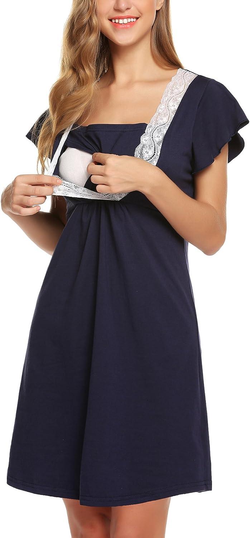 Lomon Vestito Premaman da Donna Camicia da Notte per Allattamento Pigiama Camicia da Notte