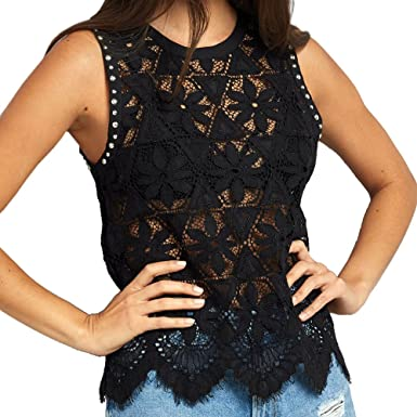 Handyulong Women Camisole Tank Tops Lace Casual Summer Shirts Sleeveless  Zipper Tunic Cami Vest Blouse for