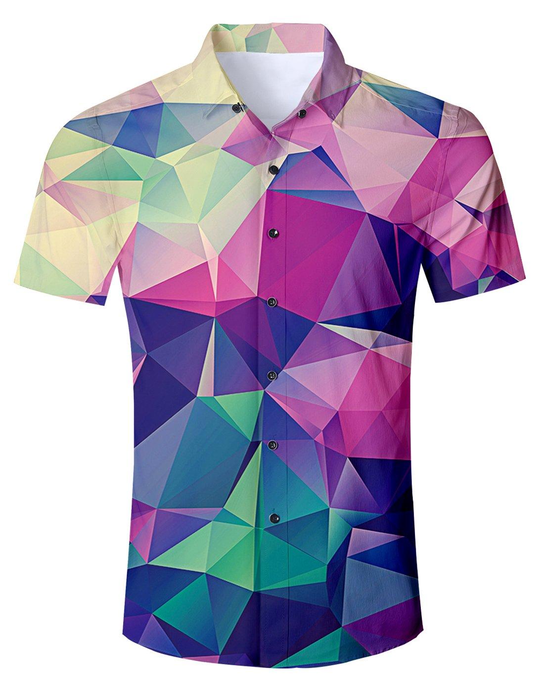 78bcf71eae Uideazone Teen 3D Cool Diamond Short Sleeve Shirts Novelty Button Down  Dress Shirt