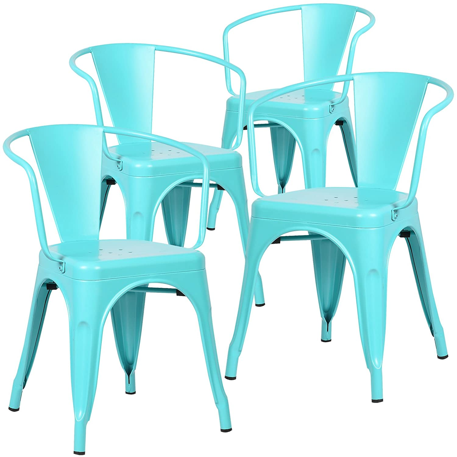 Amazon Poly and Bark Trattoria Arm Chair in Aqua Set of 4