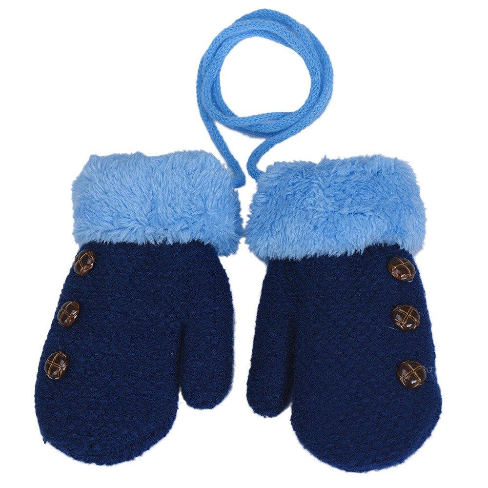 XXYsm Baby Fä ustling Handschuhe Winter Sä ugling Unisex Einfarbig Gloves mit Band Taste Plü sch