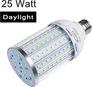 Auzer 25W LED Corn Light Bulb (180W Equivalent), E26 Base, 2500-Lumen, 6500K Daylight Cool White, AC 85V-265V, LED Corn Bulb for Indoor Outdoor Large Area Garage Factory Warehouse High Bay
