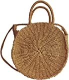 Handmade Rattan Beach Bag Round Summer Straw Shoulder Crossbody Bag Retro Woven Handbag