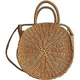 PROKTH Outdoor paglia intrecciato tessuto spalla Borsa da spiaggia per donna, rotondo estate viaggio borsa a tracolla borse a tracolla, Tan, 22 cm/8.66''