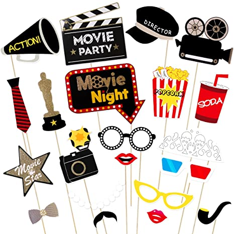 BESTOYARD Hollywood Party Photo Booth Props Kit - Hollywood/Oscar/Movie  Night Party Supplies Decorations,Pack of 21