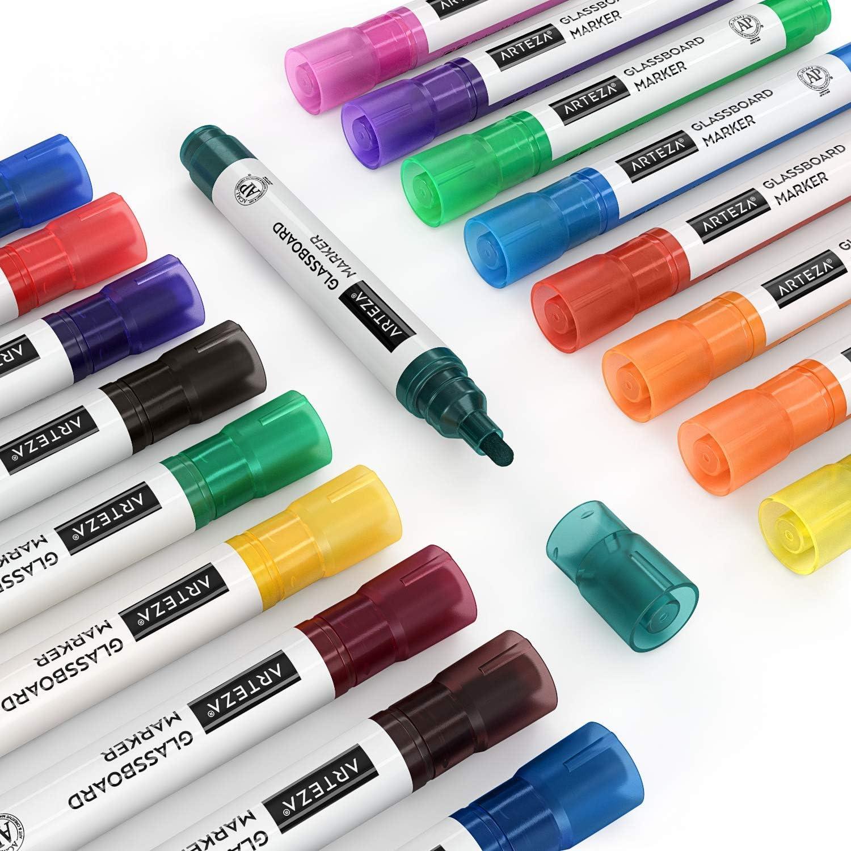 marqueurs effa/çables pour vitres marqueurs pour panneaux de verre /à faible odeur pour miroirs 10 couleurs uniques et 8 couleurs fluo Marqueurs Arteza pour verre fen/êtres et surfaces non poreuses