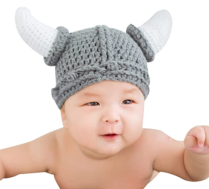 b251774d3cf Image Unavailable. Image not available for. Color  Bellady Unisex Baby  Handmade Knitting Viking Hat ...