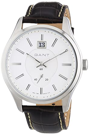 GANT BERGAMO - Reloj Analógico de Cuarzo para Hombre, correa de Cuero color Negro: Amazon.es: Relojes