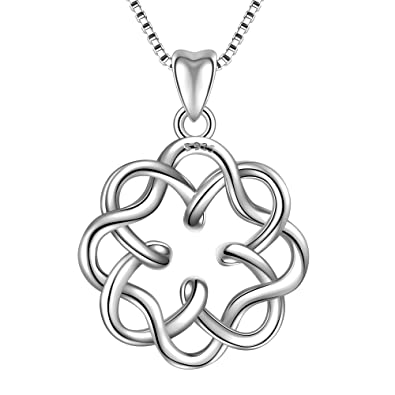 Necklace for Womens Fine Jewelry s925 Sterling Silver Irish Infinity Endless Love Celtic Knot Pendant Necklace bssgOwb3Z
