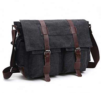Amazon.com | Kenox Canvas Crossbody Messenger Bag Laptop Case ...