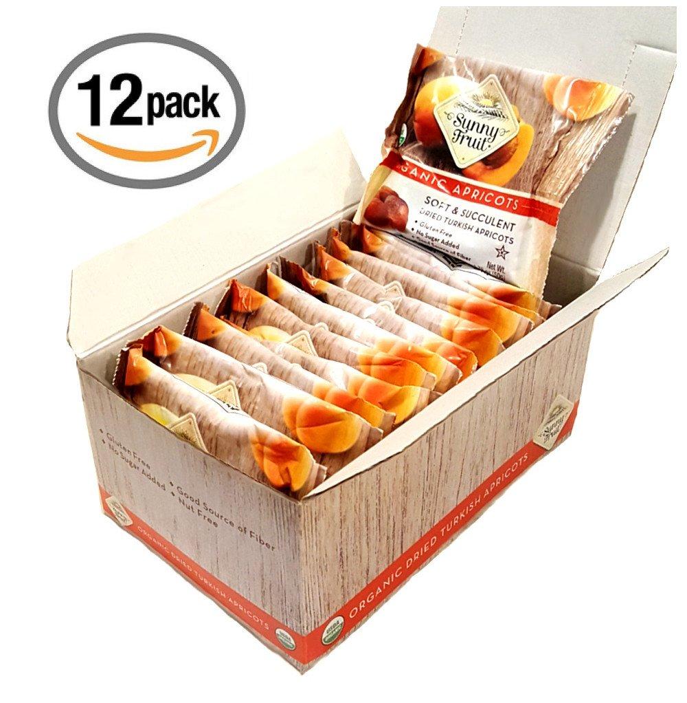 Sunny Fruit Organic Apricots, Soft & Succulent Dried Turkish Apricots- 12 Portion PK