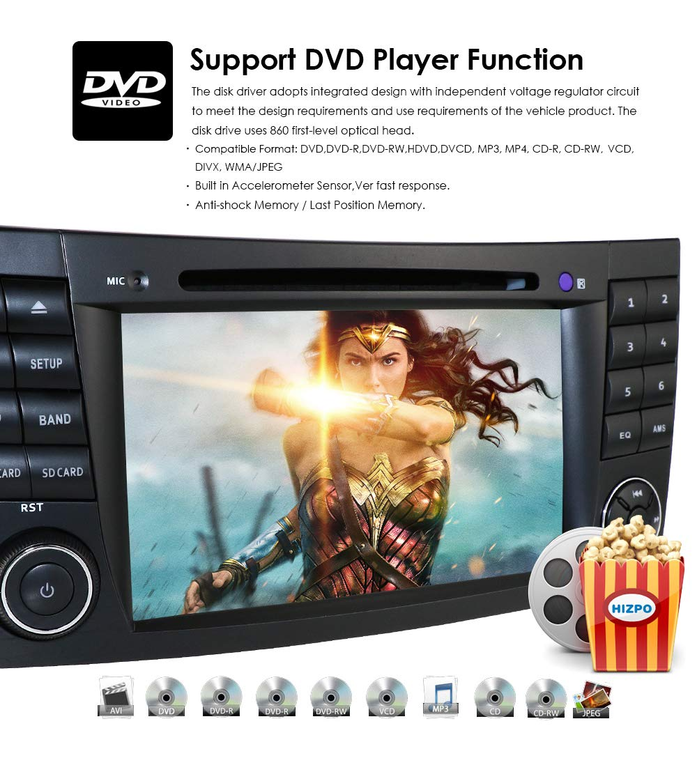 hizpo Android 9.0 Car Stereo for Mercedes-Benz E-Class W211 2002-2009 Mercedes-Benz G-Class W463 2001-2008 Mercedes-Benz CLS-Class W219 2001-2011 WiFi Bluetooth Steering Wheel Control