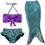 TFJH E 3PCS Kids Girls Swimsuit Bathing Suits Bikini Fish Tail