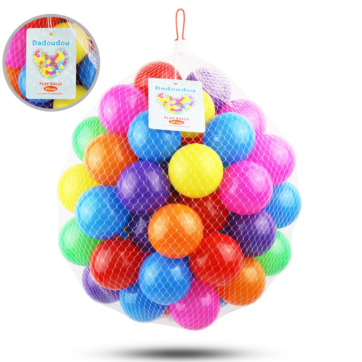 Pit Balls, Dadoudou Colorful Fun Phthalate Free BPA Free Crush Proof Balls Soft Plastic Air-Filled Ocean Ball Playballs for Baby Kids Tent Swim Toys Ball Pack of 50 by Dadoudou (Image #7)