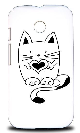Foxercases Design Minimalistic Cat 15 Hard Back Case Cover For Motorola Moto E Dual SIM (