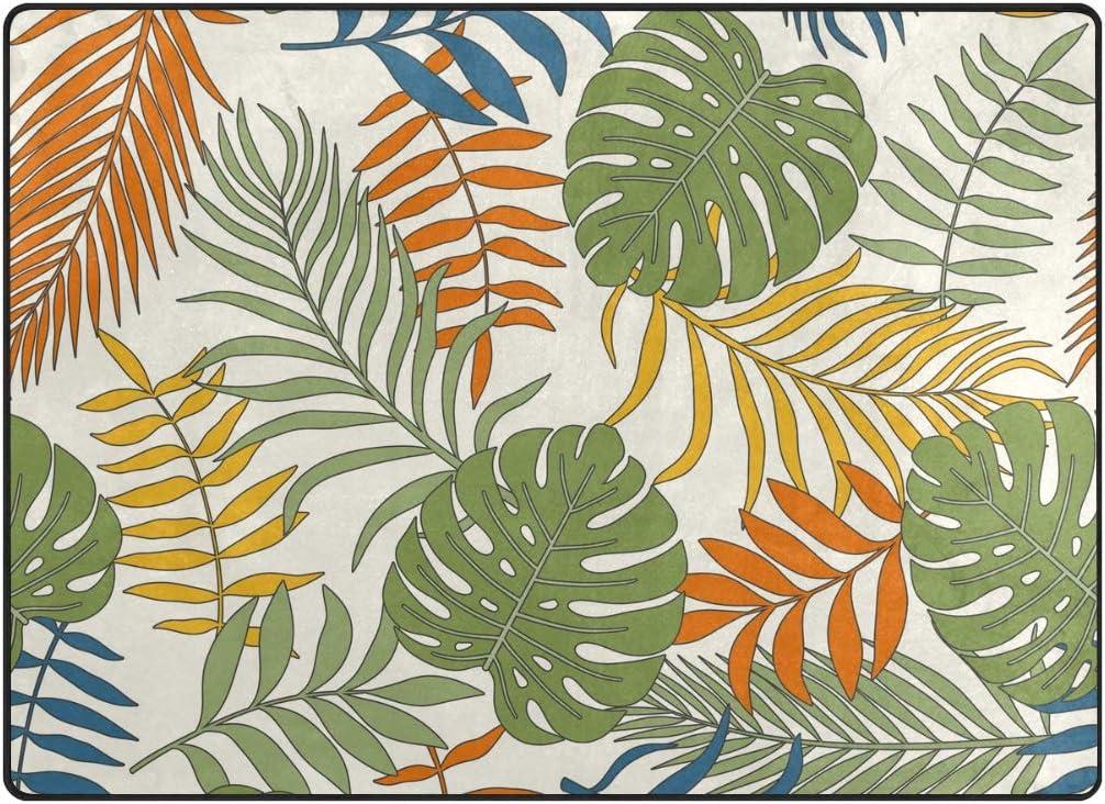Orediy Soft Rugs Tropical Palm Leaves Lightweight Area Rugs Kids Playing Floor Mat Non Slip Yoga Nursery Rug for Living Room Bedroom