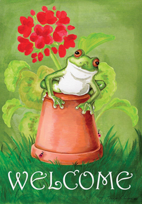 "Toland Home Garden 119122 Potted Frog Flag, Garden (12.5"" x 18"")"