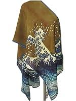 Prettystern P790 - 160cm Gravure sur bois en couleur Foulard de soie de Japon Art - Hiroshige - l'onde de taille à Kanagawa