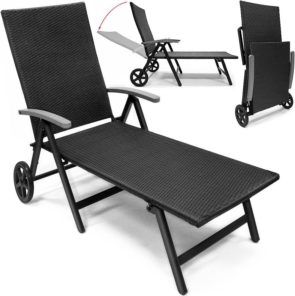 Poly rotin de jardin Transat Aluminium Pliable Relax chaise longue Chaise longue Rollliege