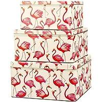 Sara Miller Set of 3 Square Cake Storage Tins Box Pink Flamingos Flamingo | Nesting Cake Tins Tin