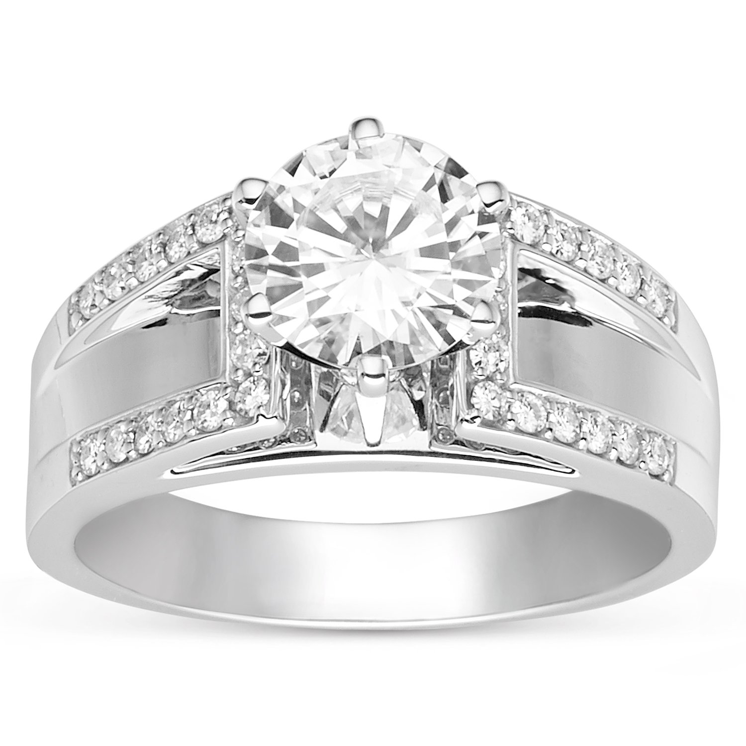 Round Brilliant Cut 8.0mm Moissanite Bridge Ring- size 7, 2.20cttw DEW by Charles & Colvard