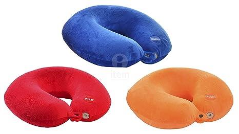 Cojin de viaje ergonomico con luz 31x30 cm 3 colores rojo/azul/naranja (Surtido a elegir 1, indíque preferencia tras hacer pedido, si no se enviará ...
