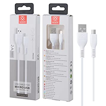WOOX - Cable Micro USB a USB 2.0 Carga Rápida y Sincronización (2A,1M