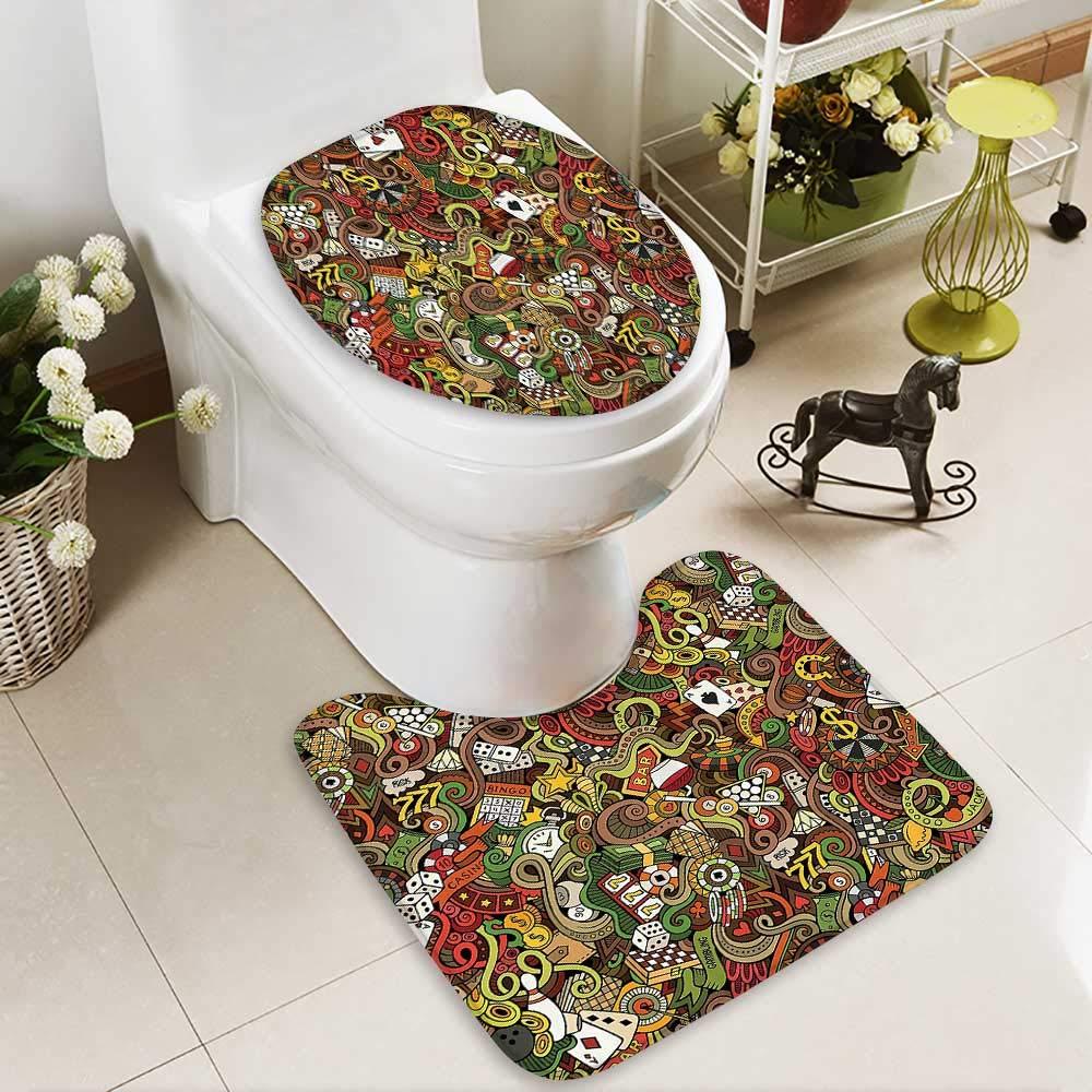 Muyindo Toilet carpet floor mat Doodles Style Bingo Excitement Checkers King Tambourine Vegas Bathroom 2 Piece Shower Mat set by Muyindo