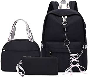 Hey Yoo School Backpack for Girls Women Children Kids Backpack School Bag Bookbag Set with Lunch Bag for Teen Girl (Black)