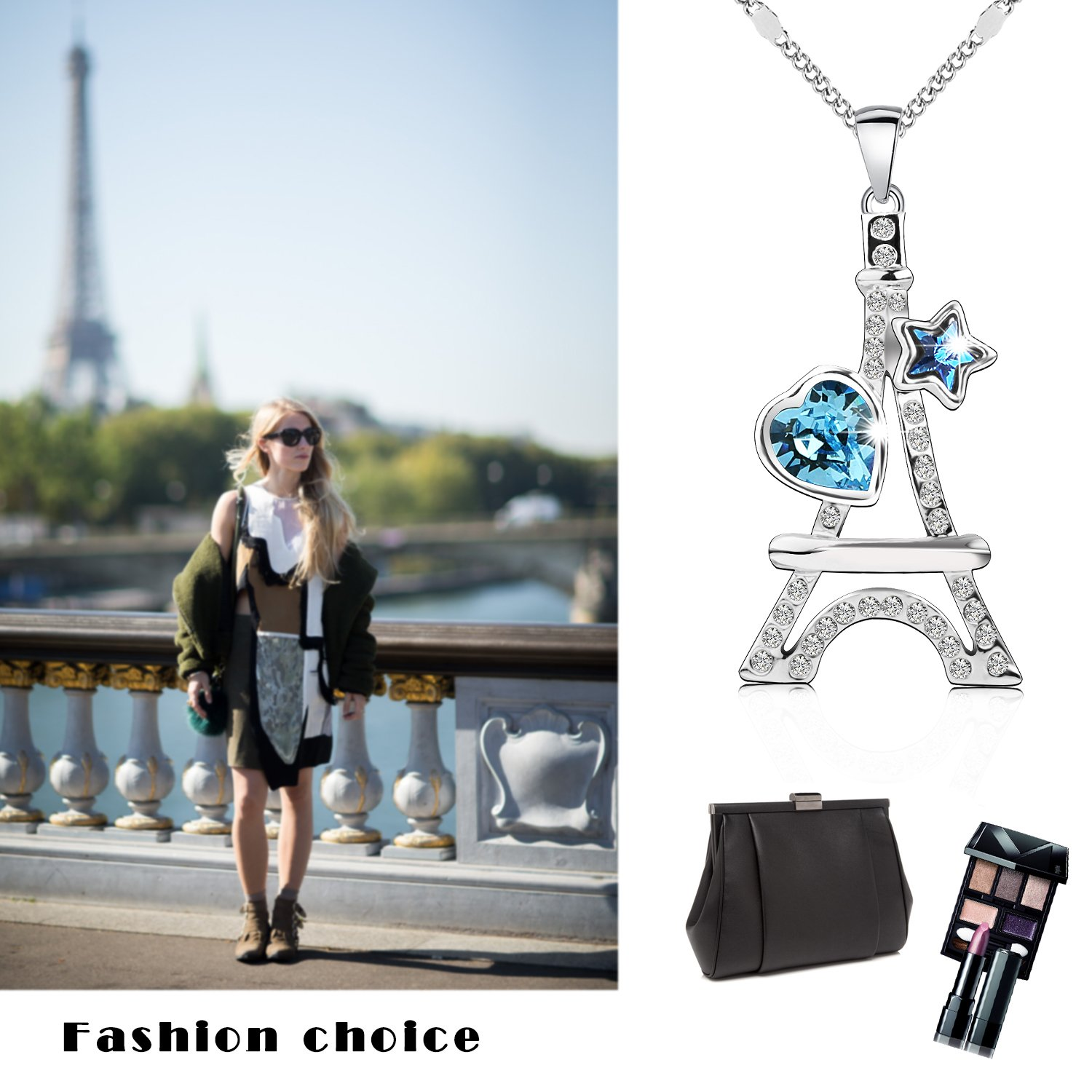 """Pealrich """" Eiffel Tower"""" Style Fashion Jewelry Pendant Love Necklace with Swarovski Crystal,Best Gifts for Women and Girls (Blue)"""
