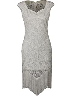 3b723e8a2ae Vijiv Vintage 1920s Inspired Embellished Beaded Lace Cocktail Flapper Dress