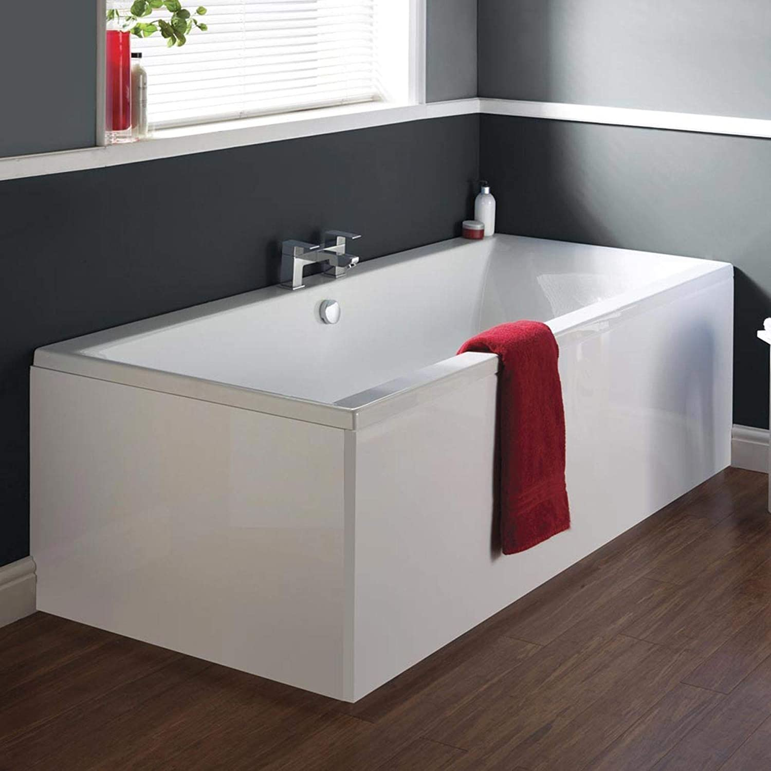 425mm Deep Premier Asselby 1700 x 750 Double Ended Straight White Rectangular Lucite Acrylic Bathtub