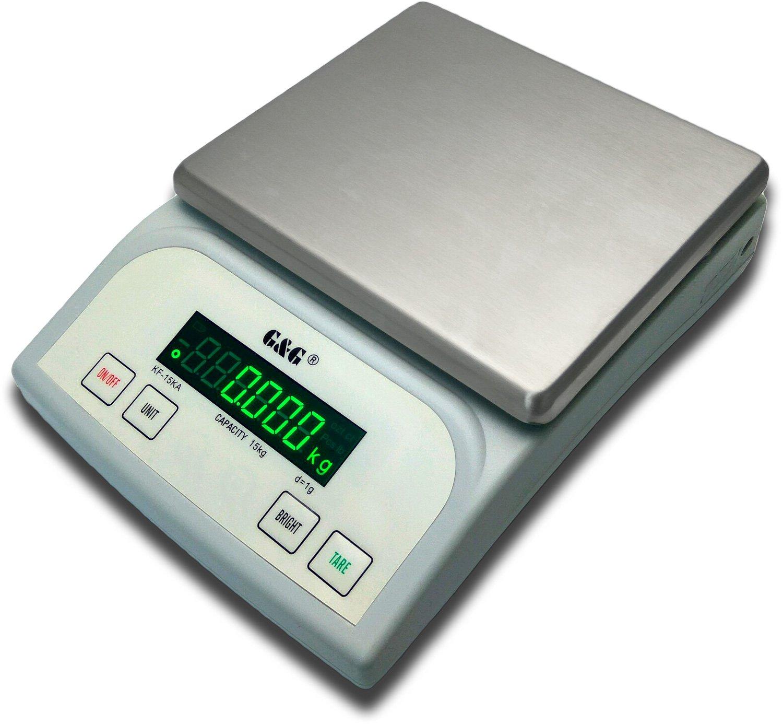 G&G - báscula digital de precisión KF15KA|B, 15 kg - 1g | 0,1g báscula de mesa KF-15KB: Bis 3kg in 0,1g & 15kg in 1g: Amazon.es: Oficina y papelería