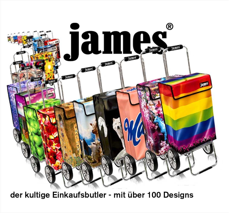 klappbar Rollkoffer made in EU! 40kg Tragkraft James/® Einkaufstrolley Design MATTERHORN deluxe moderner Einkaufswagen Trolly bunter Lifestyle Shopper