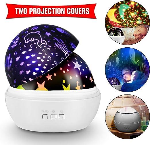 KKTICK Proyector Estrellas, Bebé Night Light LED 7 colores ...