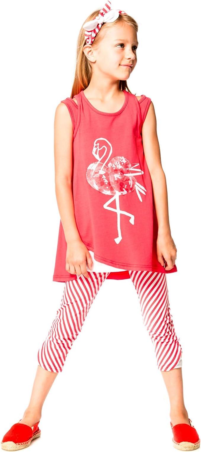 Sizes 5-12 Deux par Deux Girls/' Printed Top Flamingo Edit