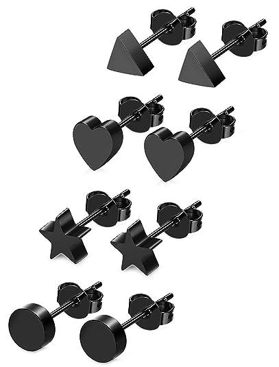 5b8d5d1fc516 BESTEEL 4Pares Acero Inoxidable Pendientes Corazon para Mujer Joven Niña  Triangulo Estrella Pendientes Aretes Negro  Amazon.es  Joyería