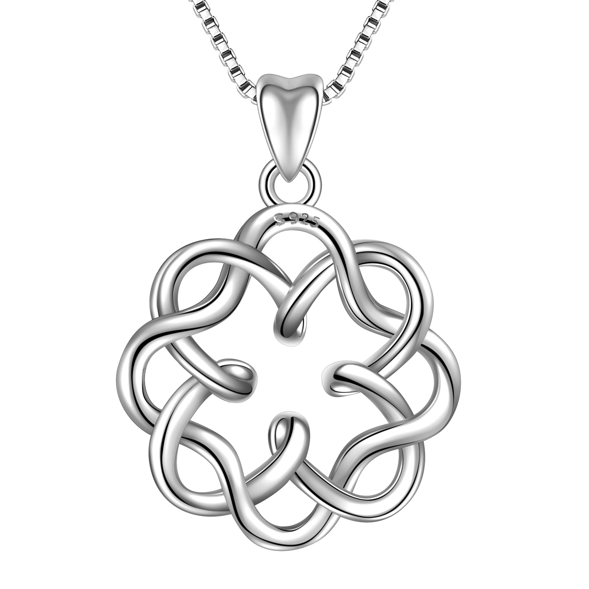 Angemiel 925 Sterling Silver Irish Infinity Endless Love Celtic Knot Vintage Pendant Necklace, Box Chain 18'' by Angemiel